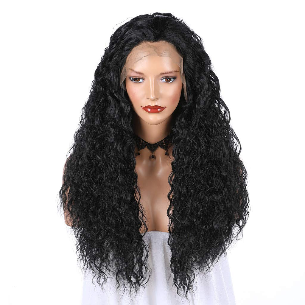JYS Long Bob Lace Front Wig Synthetic Black Wig Glueless Wave Hair Heat Resistant Fibers Middle Parting 24 Inches for Ladies Cosplay Costume Halloween Party Hair Wig (Black) by JYS (Image #2)