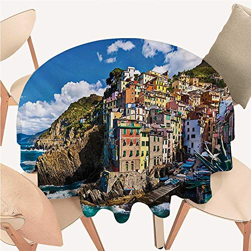 Angoueleven European Printed Tablecloth Italian Mediterranean House by Cliffs Dramatic Weather Sea Cinque Terre Print Round Tablecloth D 50
