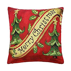 FILLED MERRY CHRISTMAS TREES COTTON TAPESTRY RED GREEN THICK CUSHION 18""