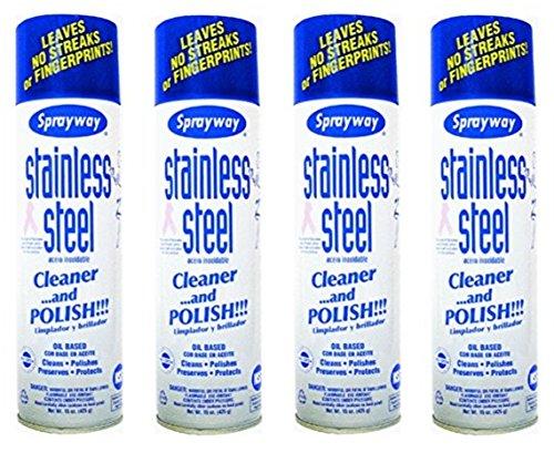 Sprayway SW841 Aerosol Stainless Steel Polish & Cleaner, 15 oz (4 Pack) by Sprayway