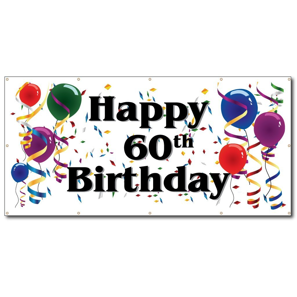 VictoryStore Yard Sign Outdoor Lawn Decorations: Happy 60th Birthday - 4' x 8' Vinyl Bann by VictoryStore (Image #2)