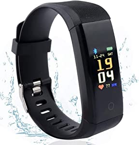 Vech Fitness Tracker, Activity Tracker Health Exercise Fitness Watch Waterproof with Heart Rate Monitor and Sleep Monitor, Calorie Counter, Step Counter Pedometer Walking for Men Woman, Android & iOS