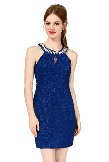 e71ed1eec3 Amazon.com  Teeze Me Juniors Sleeveless Jewel Neck Glitter Knit Keyhole  Back Dress  Clothing