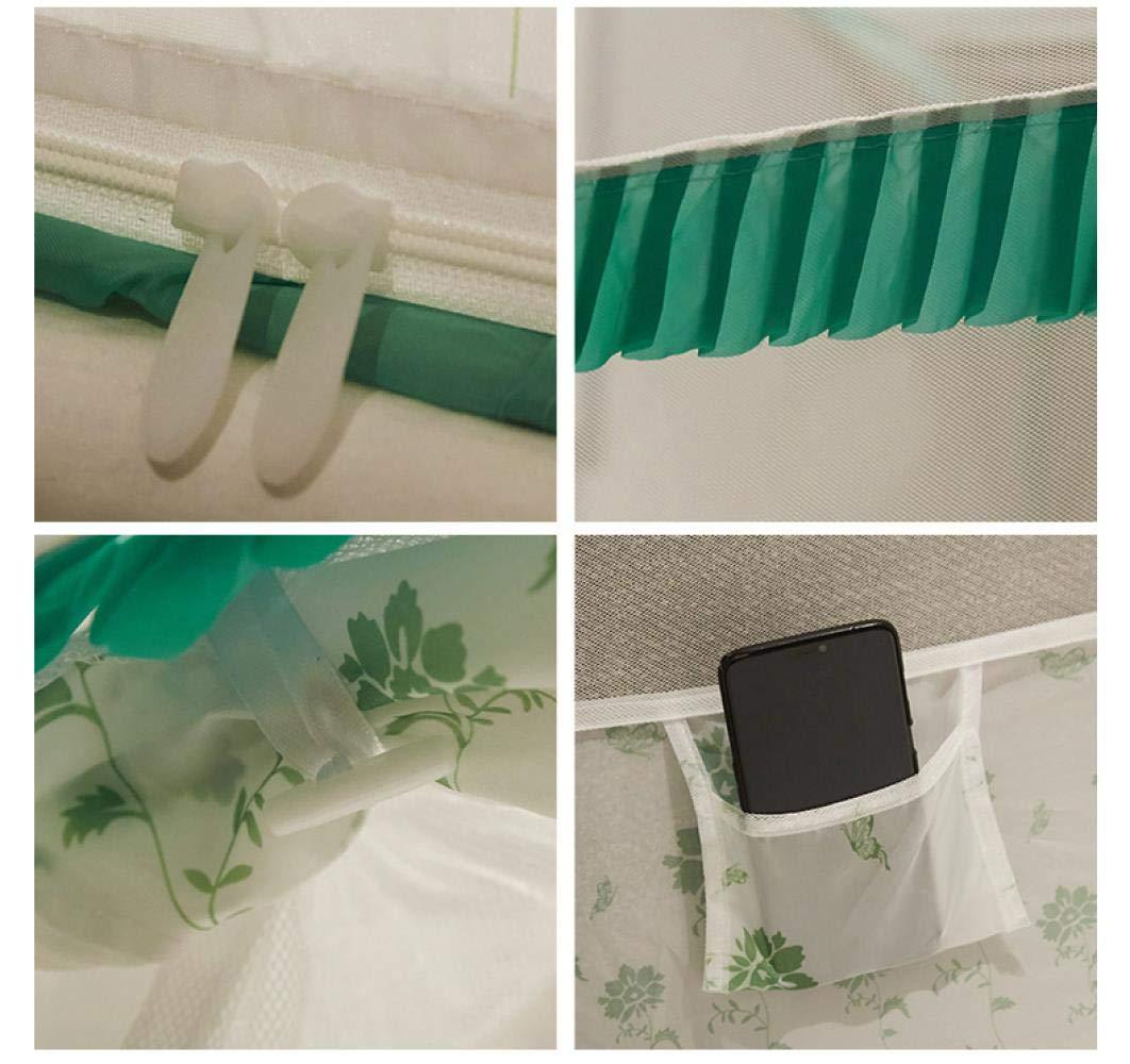 Cama de 1.8 * 2 m mosquitero Flor Verde de la Vid YousimanZ La instalaci/ón Libre de Insectos de Bloque Proporciona una mosquitera Cuadrada en Forma de U con Tres Puertas Abiertas