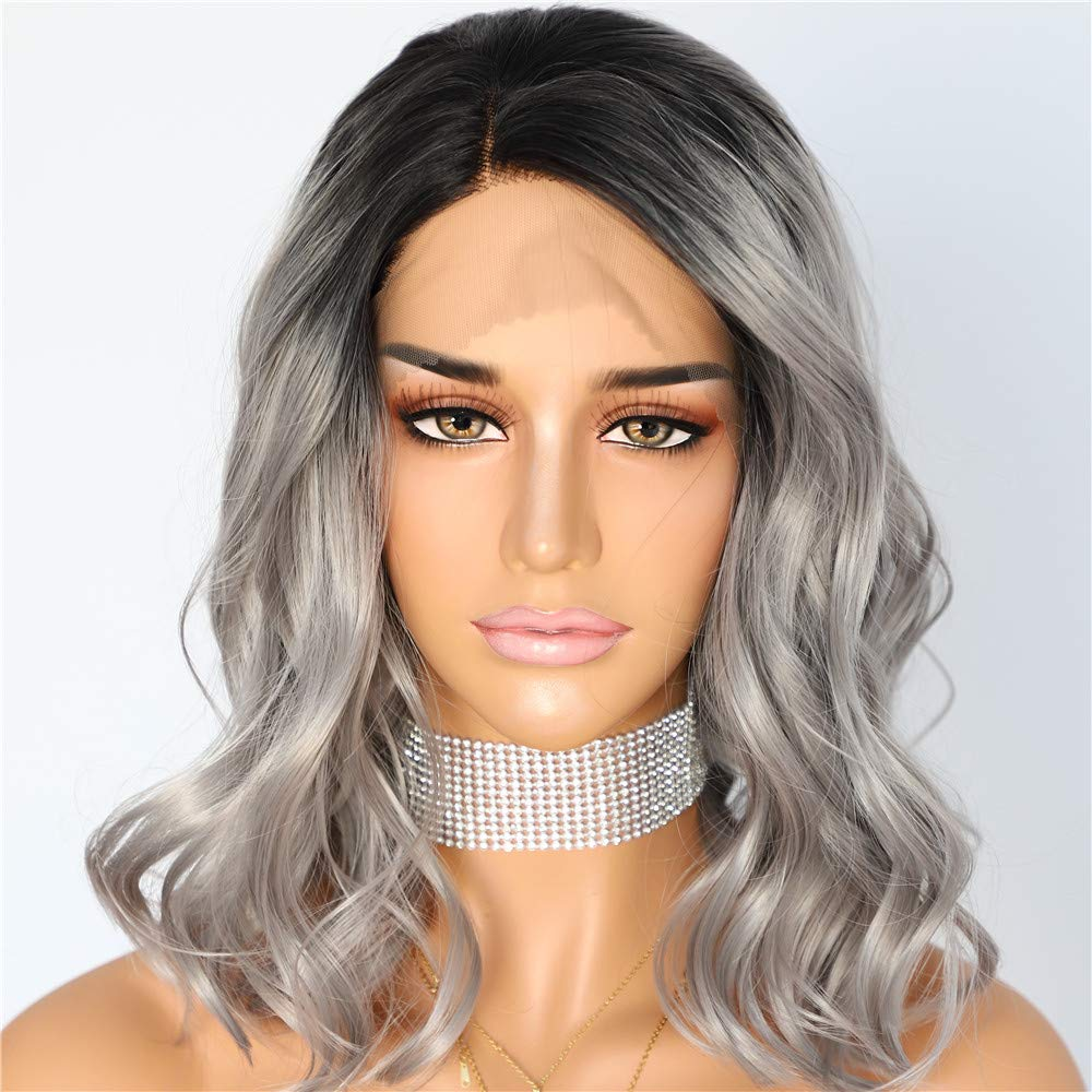 Sapphirewigs Short Water Wave Black Roots Ombre Gray Color Wave Blogger Celebrity Women Gifts Daily Makeup Synthetic Lace Front Wedding Party Wig