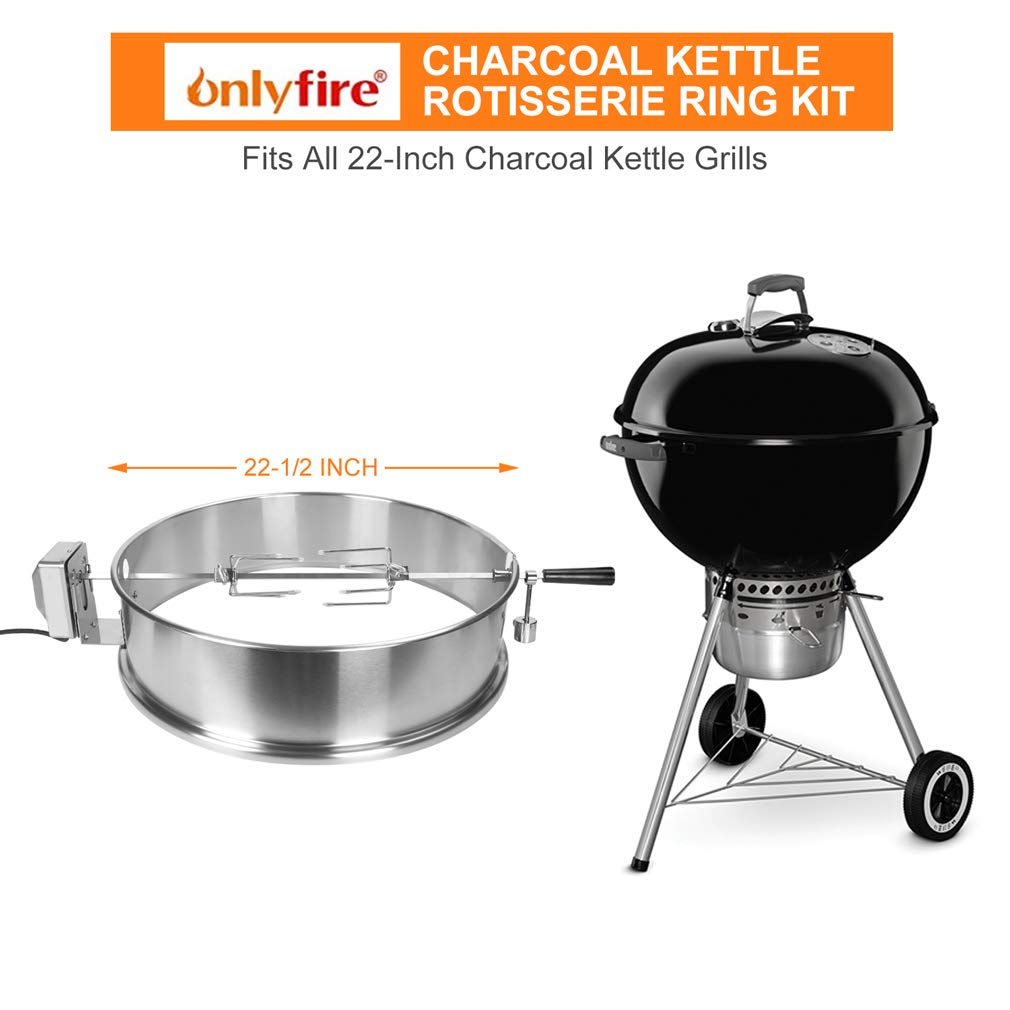 Onlyfire 22-1/2-Inch Stainless Steel Charcoal Kettle Rotisserie Ring Kit for Weber Char Broil Masterbuilt and Other Models by only fire (Image #2)