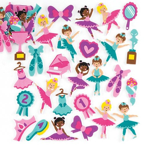 Ballerina Foam Stickers (Pack of 120) for Kids to Decorate Arts, Crafts, Cards & Scrapbooking