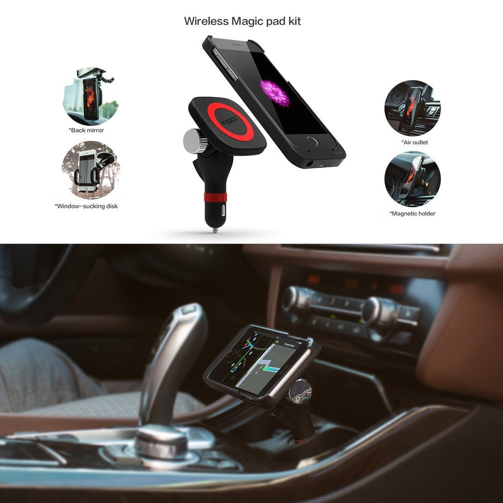 KINGTON iPhone 6/6s Wireless Charge,Magnetic Wireless Car charging Mount Holder with MFI iPhone Wireless Receiver Case For Apple iPhone 6/6S ,2 USB Port,Cordless,No Need To Take Off The Case