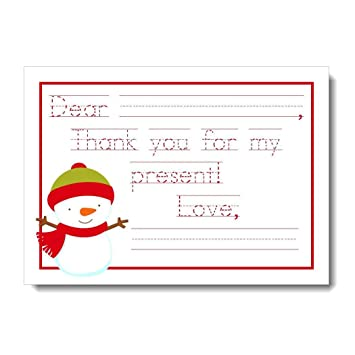 Amazon Com Snowman Thank You Cards For Kids Christmas Thank You