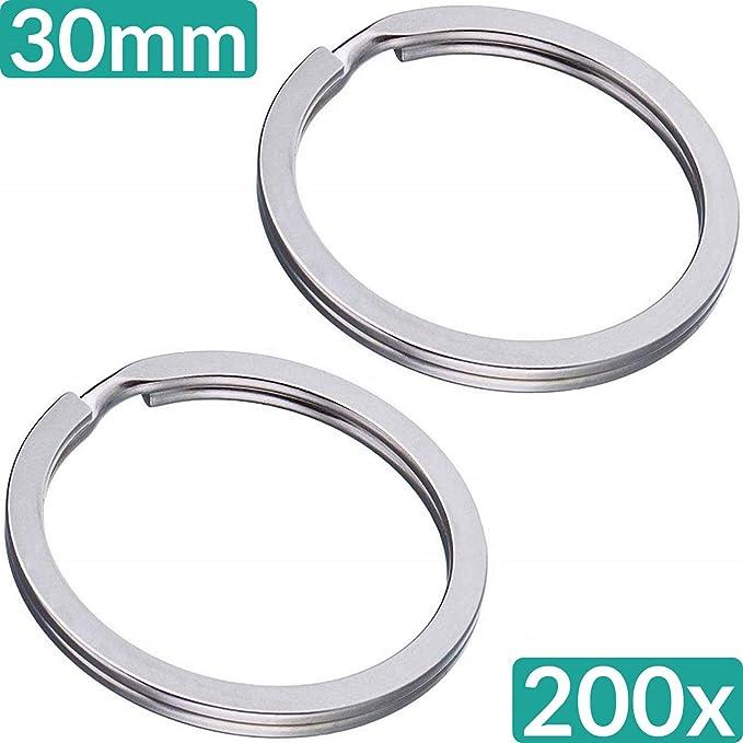 Confezione da 200 anelli portachiavi in metallo per portachiavi piatti anelli in acciaio temprato