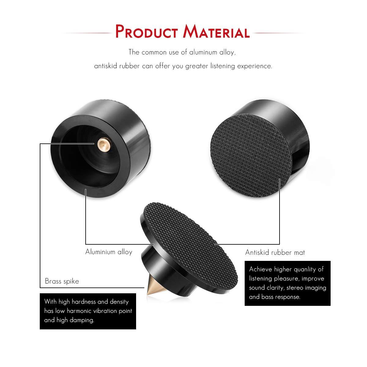 Black Nobsound Audio Nobsound 4PCS Aluminium Black /& silver Shockproof Spike+Pad Isolation Stand HiFi Amplifiers