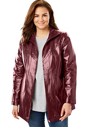 c3b5c434cf6 Woman Within Plus Size Zip-Front Leather Jacket - Antique Maroon