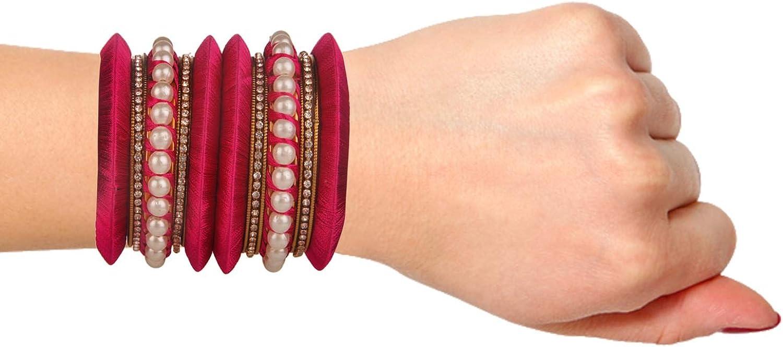 Efulgenz Fashion Jewelry Indian Bollywood Gold Plated Faux Pearl Crystal Pink Silk Thread Bracelets Bangle Set 18 Pcs