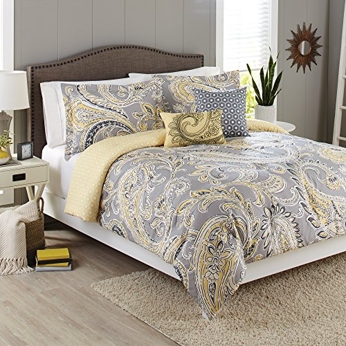 Better Homes and Gardens 5-Piece Bedding Comforter Set, Yellow Grey Paisley Size: Full/Queen from Better Homes and Gardens