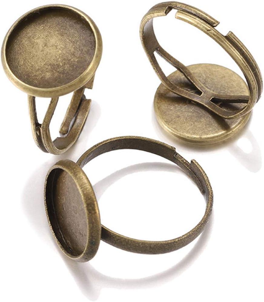 HONGTAI 10 unids/Lote Ajustable Anillo en Blanco Ajuste Dia 10 12 14 16 18 20 25 MM CABOCHONES DE VISISTO CAVEO DE CAVEO JOYERÍA DE BANTENERA (Color : Bronze, Size : 18mm x 10pcs)