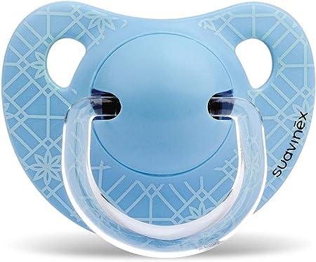 Suavinex - Chupete Tetina Anatómica Silicona. Chupete 0-6 Meses. 0% BPA, Diseño Panda Color Azul: Amazon.es: Bebé