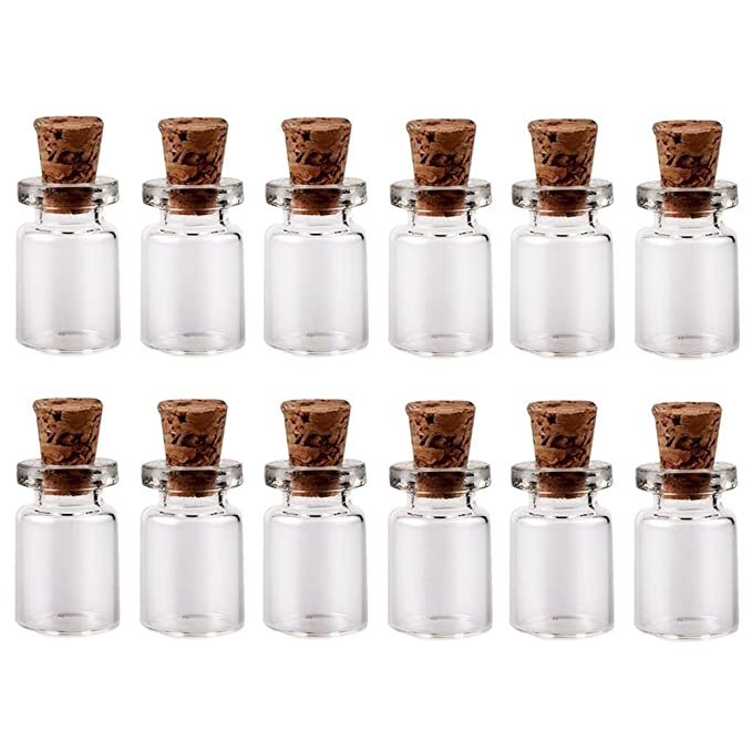 57adb632b173 LEFV™ 0.5ml Small Bottles Transparent Mini Glass Jars with Cork Stoppers  Top - Message Weddings Wish Jewelry Pendant Charms Kit Party Favors - Pack  ...