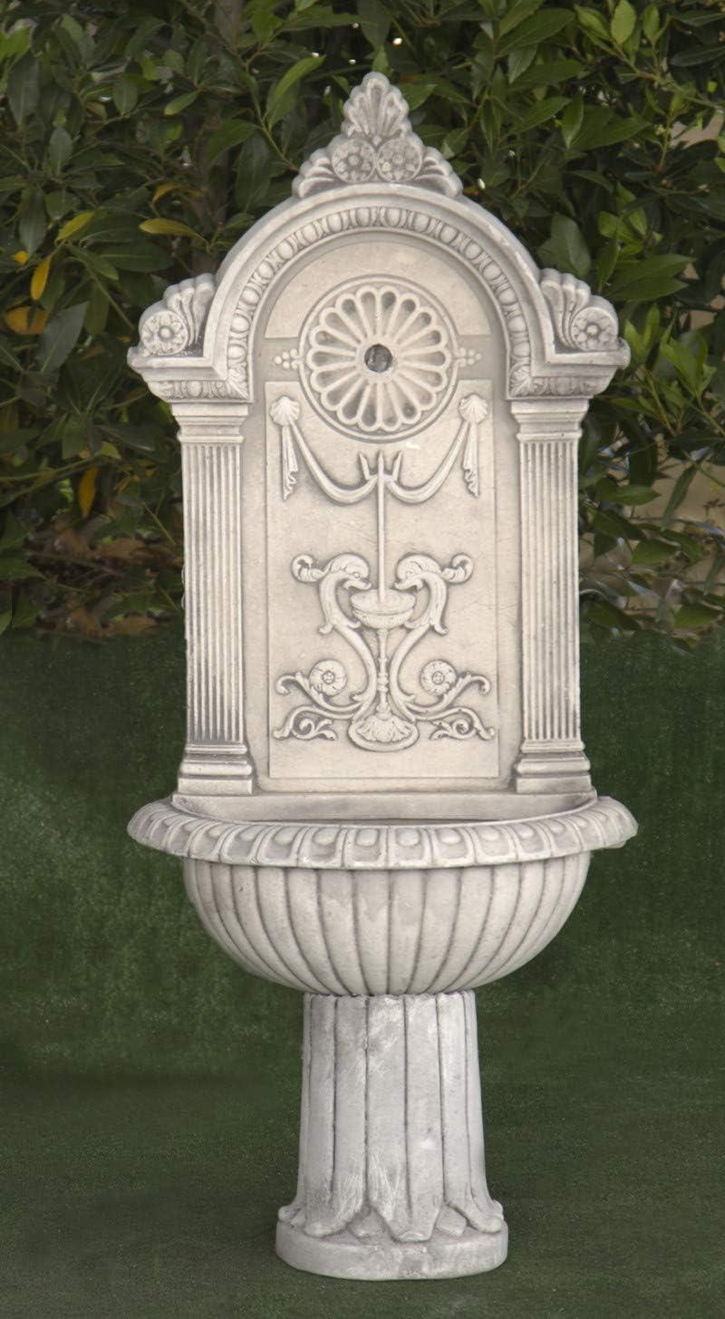Fuente de Pared de hormigón clásica Marina Real 46x26x102cm. - Fuente de jardín Decorativa Romana Estilo jardín Ingles.- Sin Mantenimiento.Hecho en España.