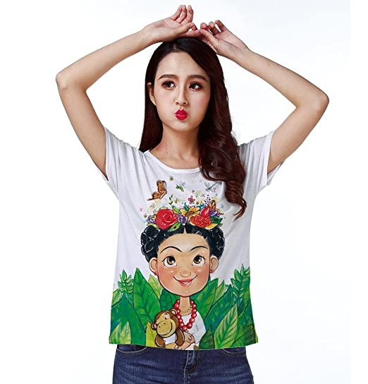 f2ba6a8c373 T-Shirt Top Tee Frida Kahlo Butterfly Flower Monkey Toy 0772 at ...