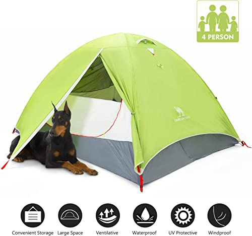 CAMEL CROWN Dome Tent 2-4 Person Camping Tent Spacious, Lightweight and Flame Resistant Outdoor Hiking Universal Improved Tent