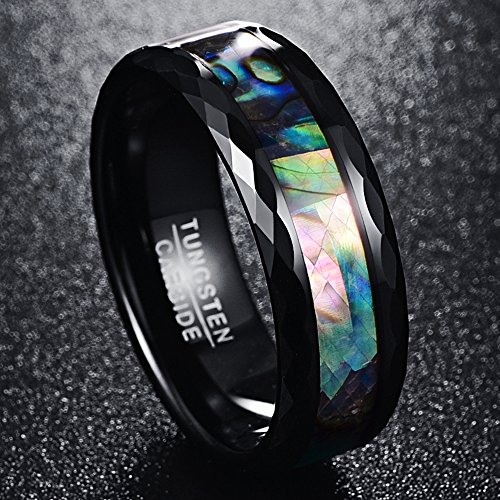 Nuncad-8mm-Mens-Abalone-Shell-Polished-Black-Faceted-Tungsten-Carbide-Rings-Wedding-Band-Size-J-to-Z3