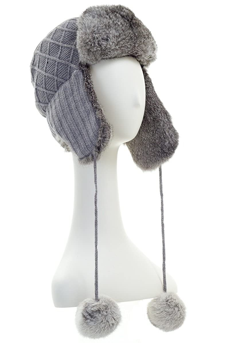 be2786492cd49 Surell Womens Grey Rabbit Fur Trimmed Knit Trapper   Avaitor Hat w  Pom Pom  at Amazon Women s Clothing store