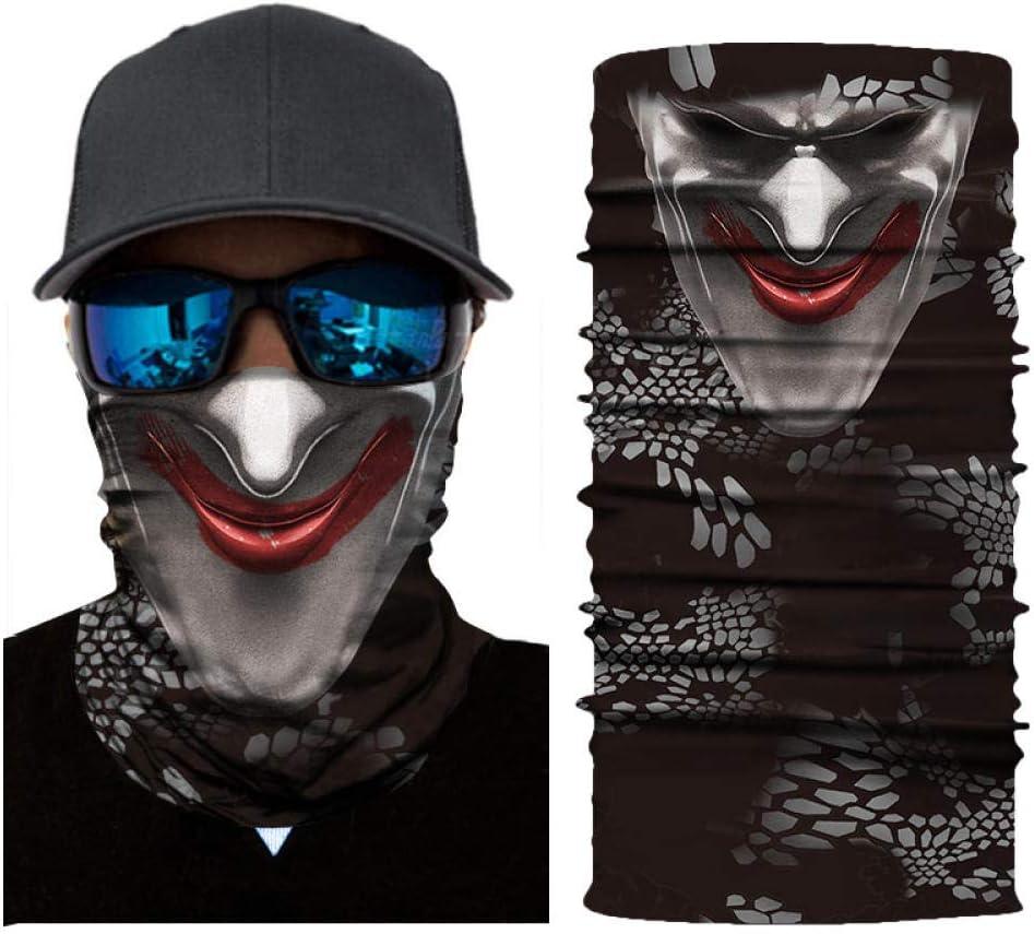 RKWEI Nahtlose/Bandanas 3D Clown Print Warm Multifunktionaler Magic Scarf Elastic Seamless Bandana Nackenschutz Fahrradschal Sonnen Und Uv-Schutz Outdoor-Kopfbedeckung