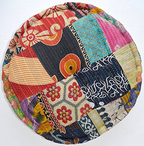 RANGILA Stuffed Indian Vintage Kantha Assorted Patch Floor Cushion; Pouf Ottoman; Round Pouf by MARUDHARA (Image #3)