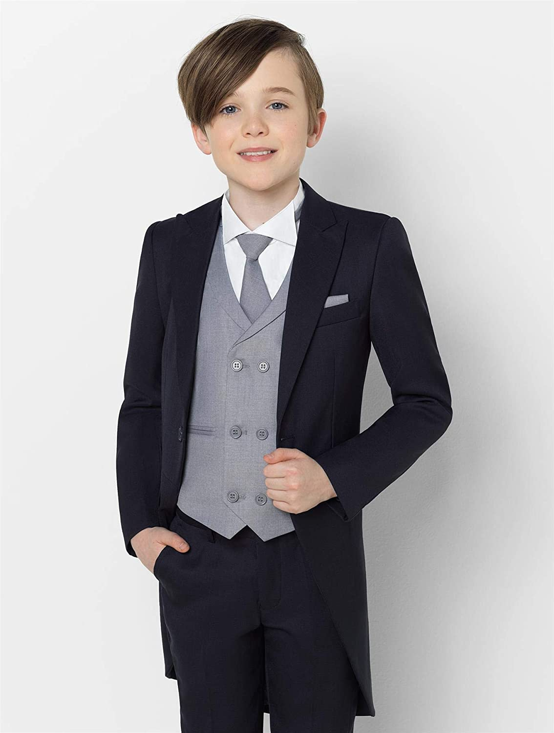 Sampson Oliver Chambray Suit 1-14 Years Paisley of London Boys Grey Waistcoat Prom Suit