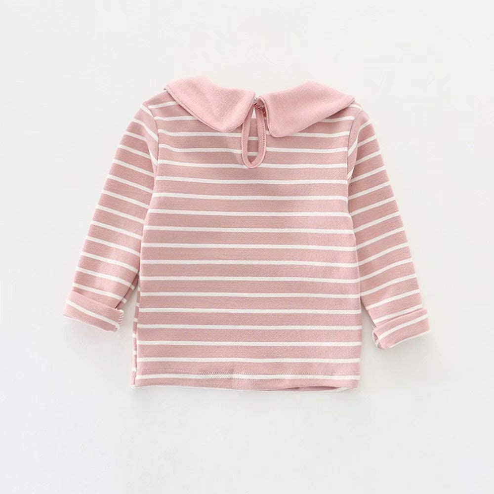 LOTUCY Baby Girl Peter Pan Collar Polo Shirt Clothes Toddler Kids Striped Tops Cute Bowknot Long Sleeve Basic Plain Blouse