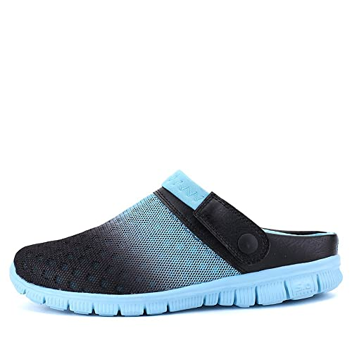 c1680ca9373 Bwiv Beach Slippers for Men and Women Mesh Water Clogs with Strap Casual  Beach Shoes Black and Turquoise Blue 45(UK 11.5-12, 11.3in): Amazon.co.uk:  Shoes & ...