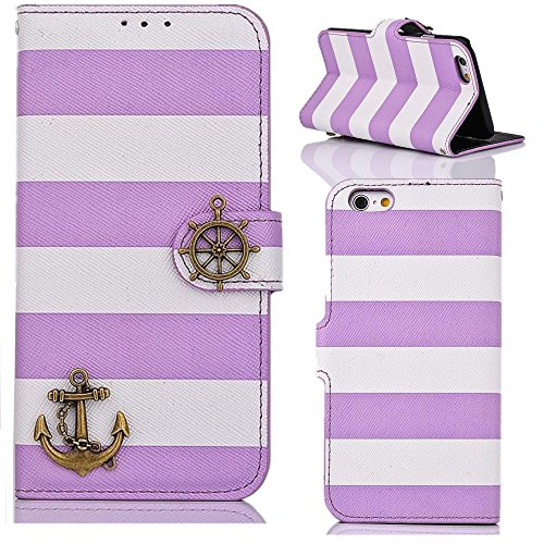 YW (TM) Hybrid Stripes Rudder Anchor ID Card Slots Flip Leather Stand Hard Case Cover For iPhone 6 4.7 inch - Purple