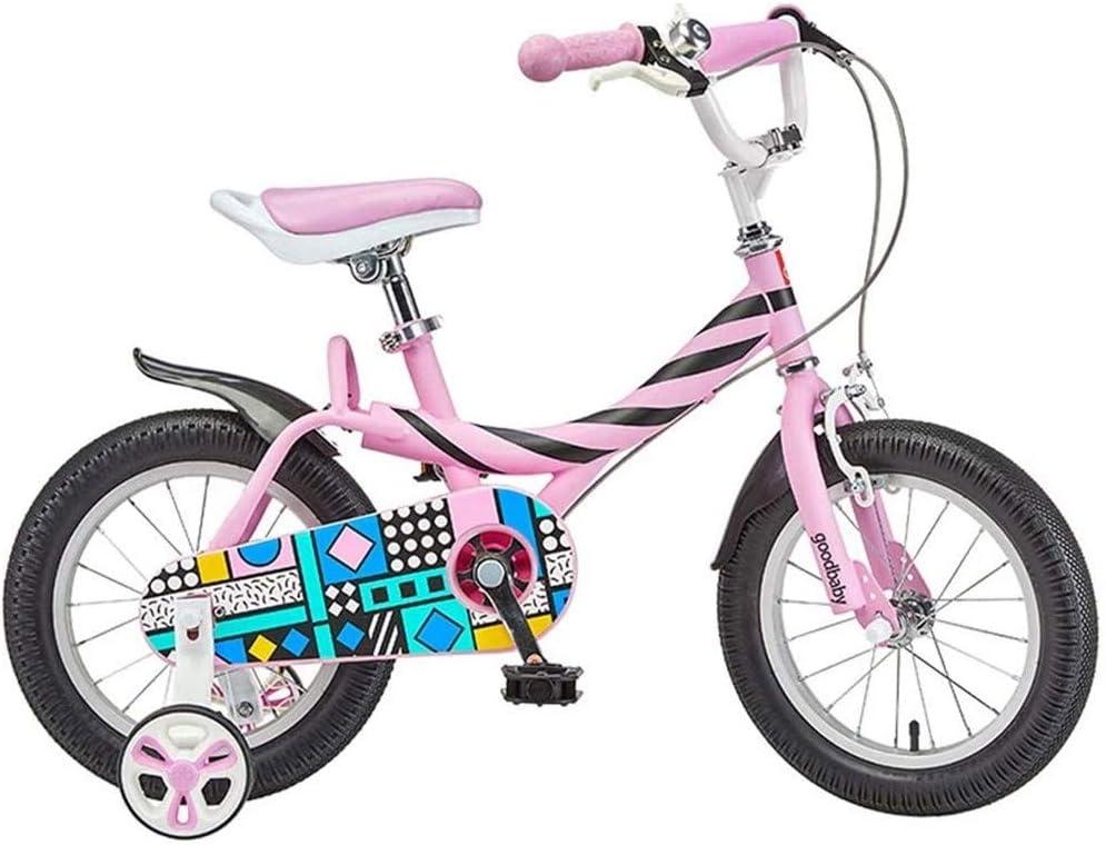 DCC Bicicleta para niños niña de 3 a 6 años Carro de bebé 14/16 Pulgadas Bicicleta de bebé niña