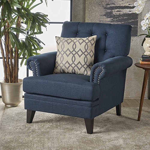 Christopher Knight Home 301432 Anthea Arm Chair Navy Blue Dark Brown
