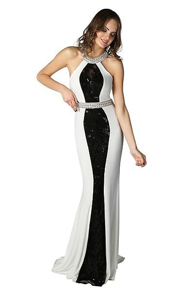 Dynasty Mujer Tamera Color Blanco y Negro Largo Vestido sin bufanda estilo 1012821 Blanco blanco/negro 40: Amazon.es: Ropa y accesorios