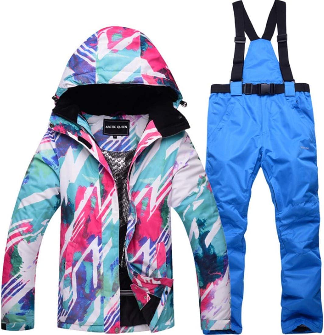 ACHAOHUIXI レイン スノー アウトドア ハイキング(S-XL)用の女性用スノー スーツ冬用スキー ジャケットとパンツ セット (色 : 04, サイズ : L)  Large