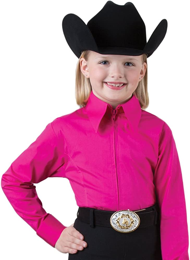 Girls Pink Zip Front Competition Top