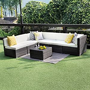 Wisteria Lane Outdoor Conversation Set Patio Furniture, 7PCS Outdoor Gray  Wicker Sofa Set Sectional Furniture