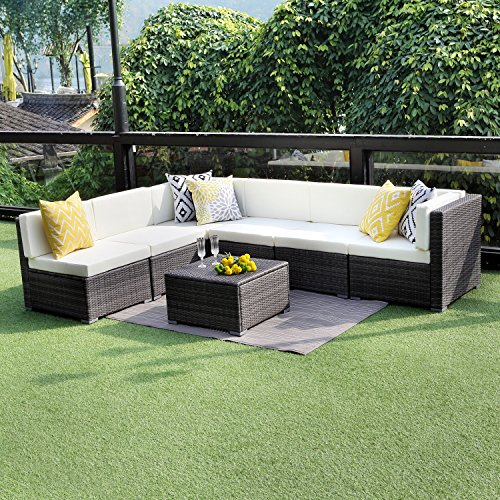 Wisteria Lane Outdoor Conversation Set Patio Furniture, 7PCS Outdoor Gray Wicker Sofa Set Sectional Furniture Set
