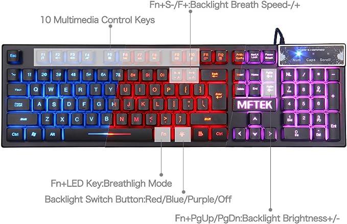 Gaming Teclado y Ratón Set – mftek LED 3 colores fondo Gaming ...