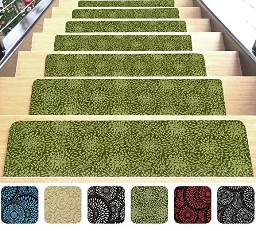Green Stair Mats Ultra-Thin with Slip-Resistant Rubber Backing 9x26in 14pcs (Stair Indoor Pads)