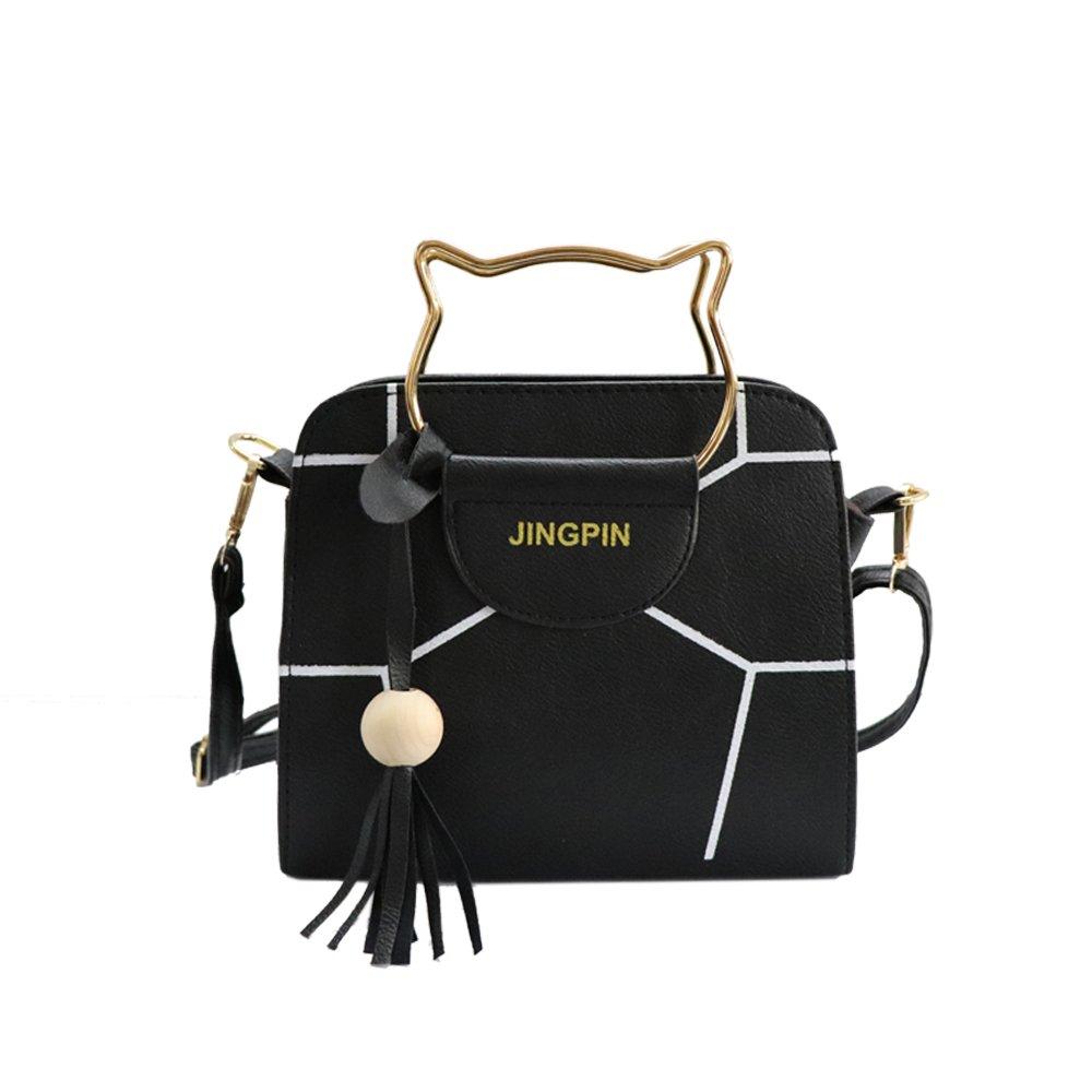 Women's Summer Fashion Top Handle Cute Cat Cross Body Shoulder Bag (Black)