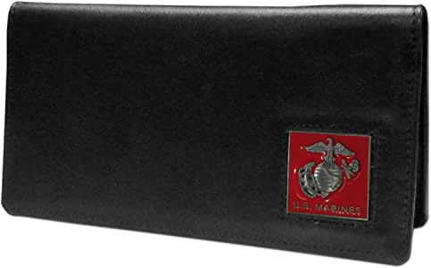 Siskiyou SNC19 Leather Checkbook Cover - United States Marines, Black