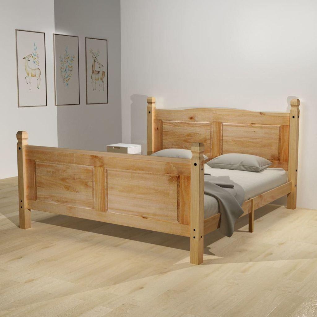 WEILANDEAL Bett mit Matratze Mexican Pine Krone 140 x 200 cm Betten ...