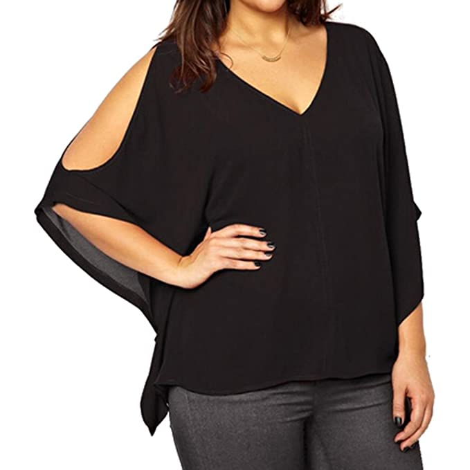 Juleya Camisa Mujer Verano Grand Talla Blusas de Gasa Camisetas Sueltas de Manga Corta Batwing Blusas