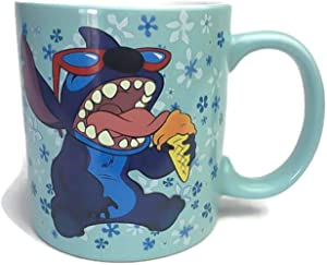 Silver Buffalo Disney's Lilo and Stitch Shades Ice Cream Flowers Ceramic Coffee Mug for Cappuccino, Latte or Hot Tea, 14 Oz, Blue