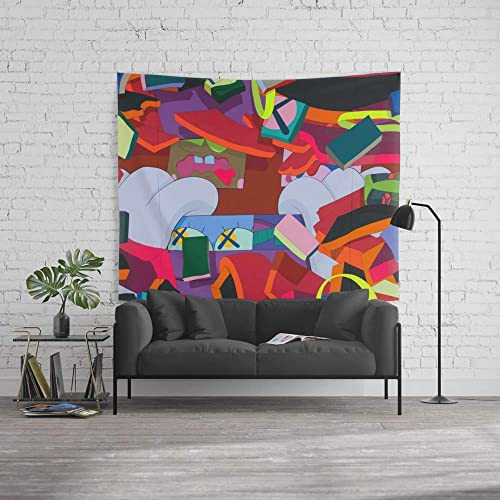 wenhuamucai Wall Tapestry, Size Large 60 x 90 , KAWS, Silent City 2011 Decor for Living Room Bedroom Dorm