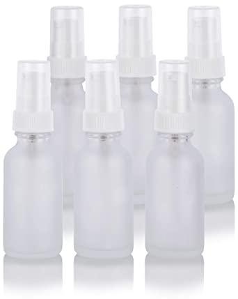 d54f9124b92e 1 oz Frosted Clear Glass Boston Round White Treatment Pump Bottle (6 Pack)  + Funnel and Labels for Cosmetics, serums, Essential Oils, Aromatherapy, ...