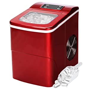 Countertop Ice Maker Portable Ice Making Machine with Timer -Bullet Ice Cubes Ready in 6 Mins - Makes 26 lbs Ice in 24 hrs - Perfect for Home/Office/Bar/Dorm, LCD Display & Ice Scoop & Bucket(Red)