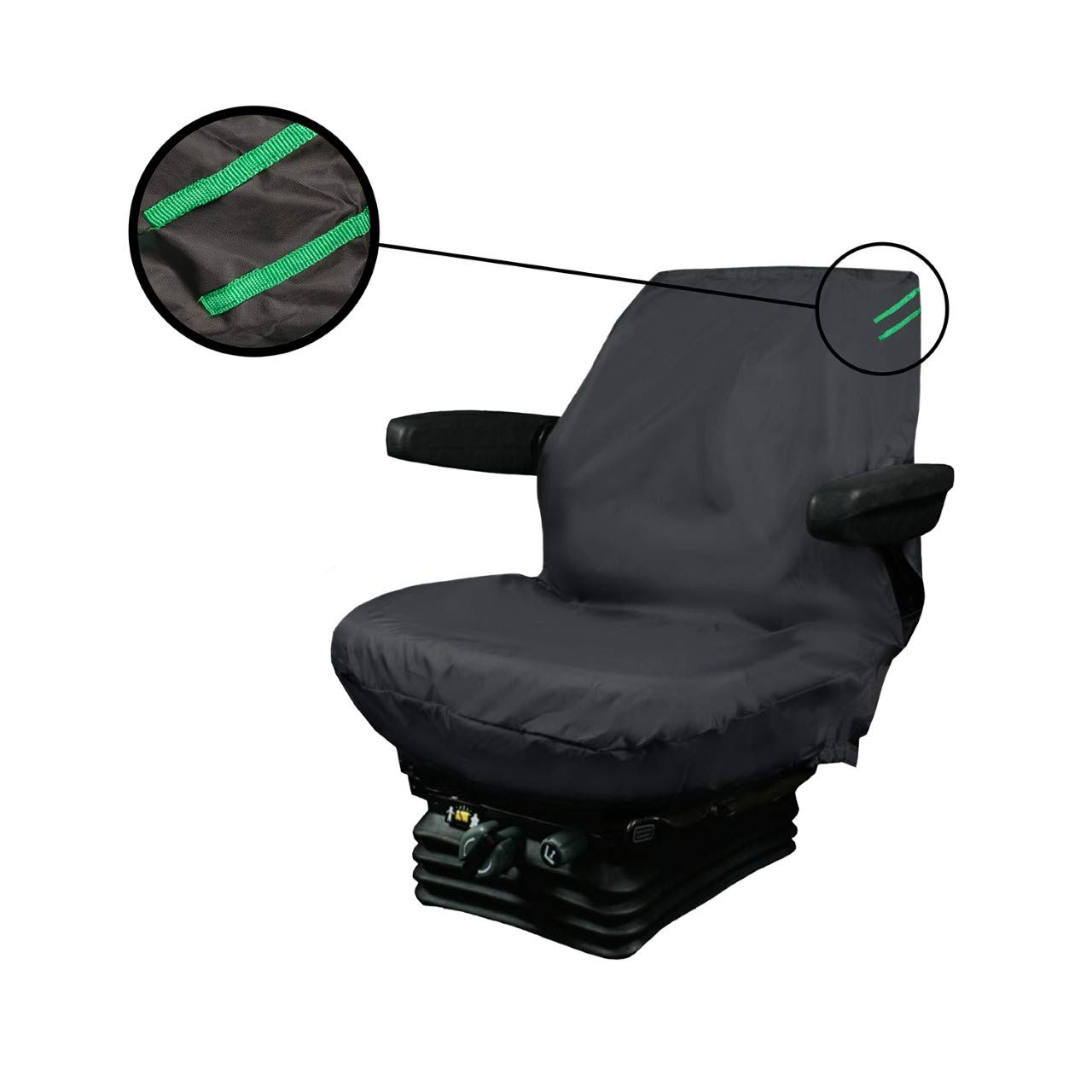 XtremeAuto Universal Waterproof Digger Seat Cover - Black With Green Detailing (Large)